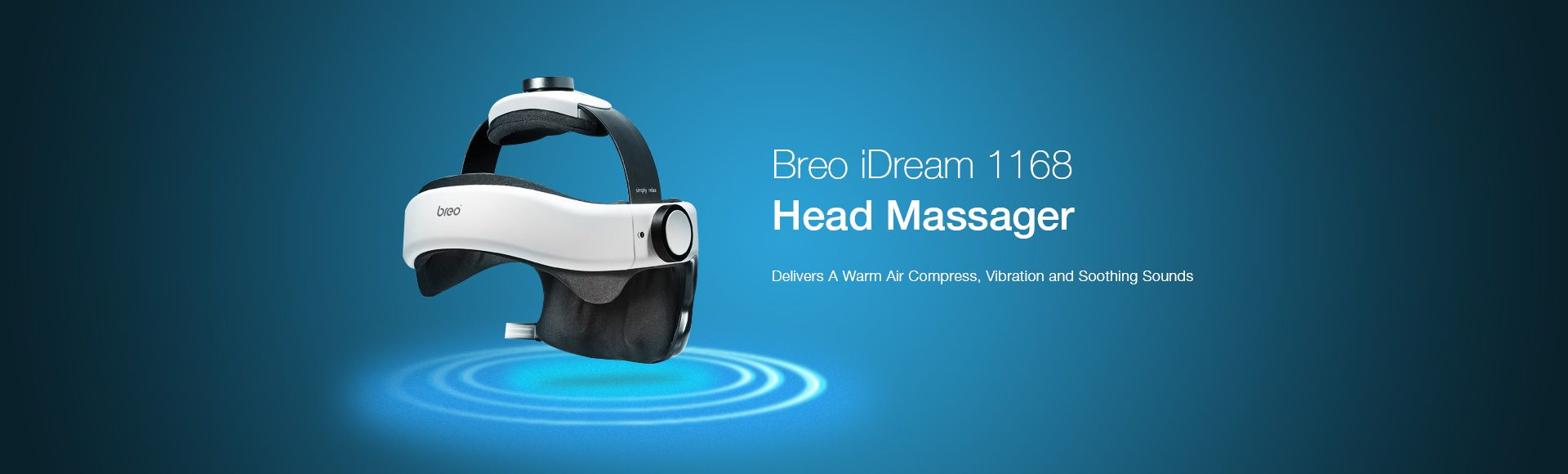 Breo iDream 1168 Head Massager - Delivers a warm aire compress, vibration and soothing sounds