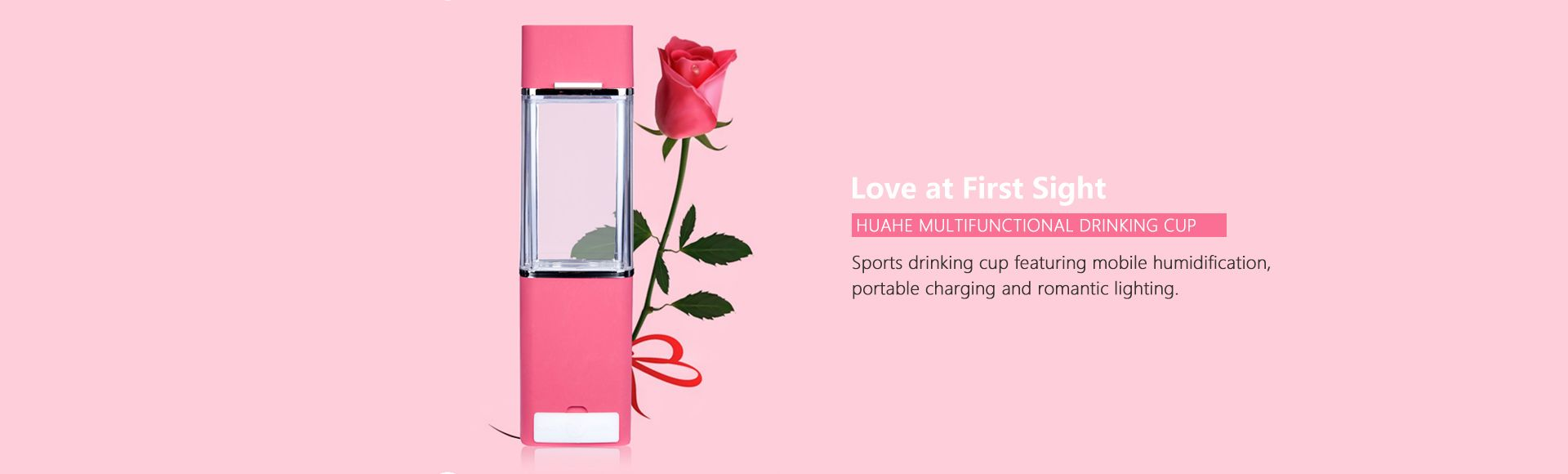 HUAHE Multifunctional Drinking Cup - Love at first sight Sports drinking cup featuring mobile humidification portable charging and romantic lighting