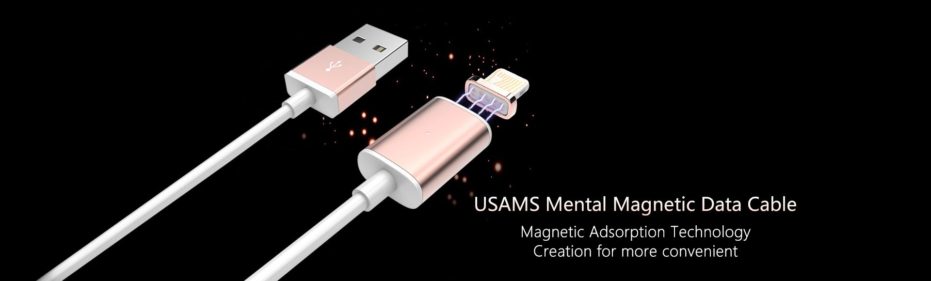 USAMS Mental Magnetic iPhone Data Cable - Magnetic adsorption technology creation for more convenient