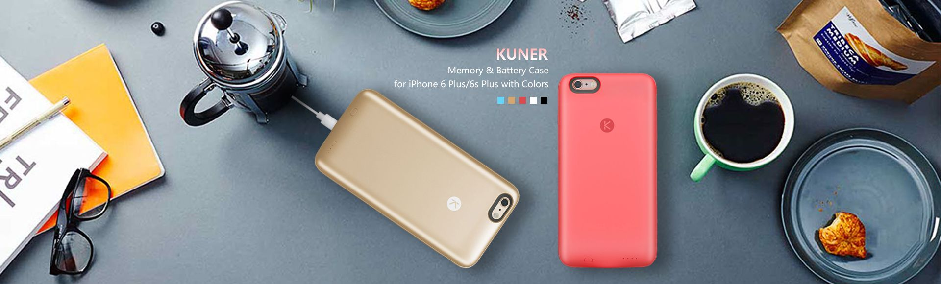 Kuner Kuke iPhone 6 Plus / 6s Plus Memory Battery Case - 2400mAh rechargeable extended battery, Expanding memory 16/64G