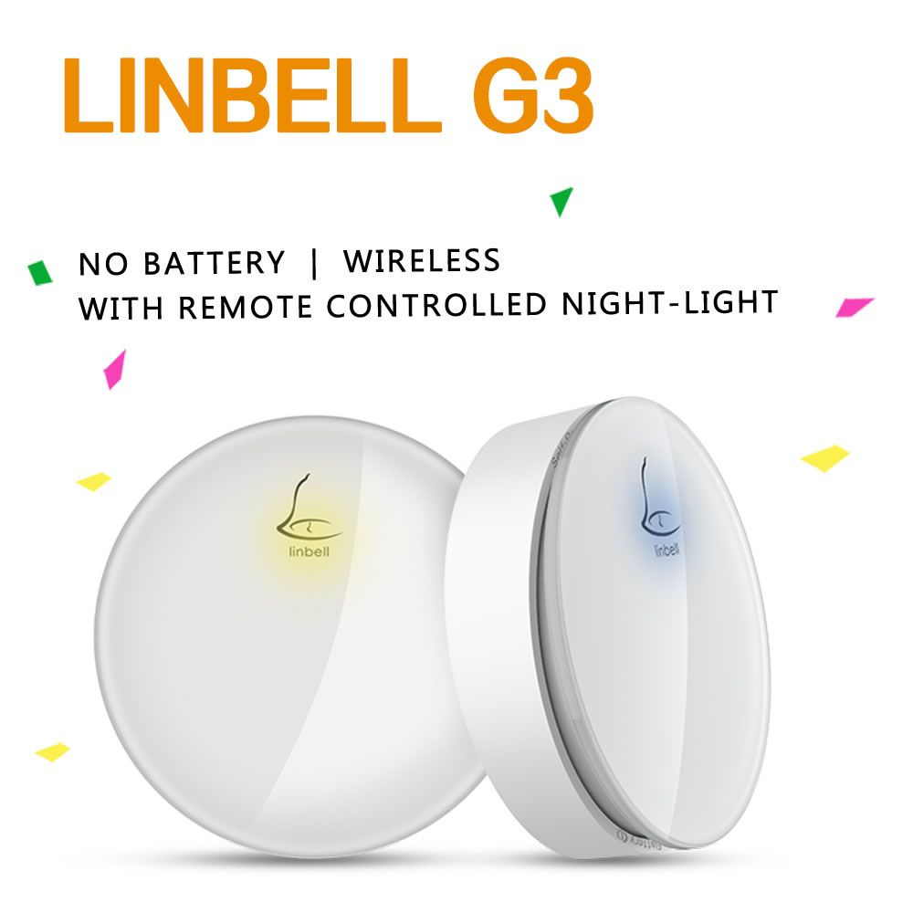 Linbell G3 Self-Powered Wireless Doorbell With Multiple Receivers - Remote control distance 300foot / 100m, Easy installation and setting, Weatherproof wireless doorbell