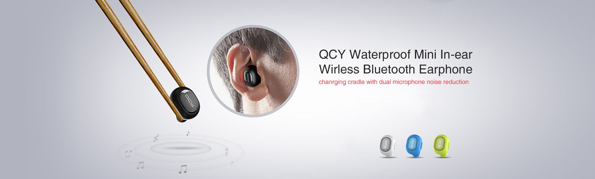 QCY Q26 Wireless Headset  - Ultra Mini Size Bluetooth 4.1 with Mic for iPhone iPad Android Smart Phone Windows Phone