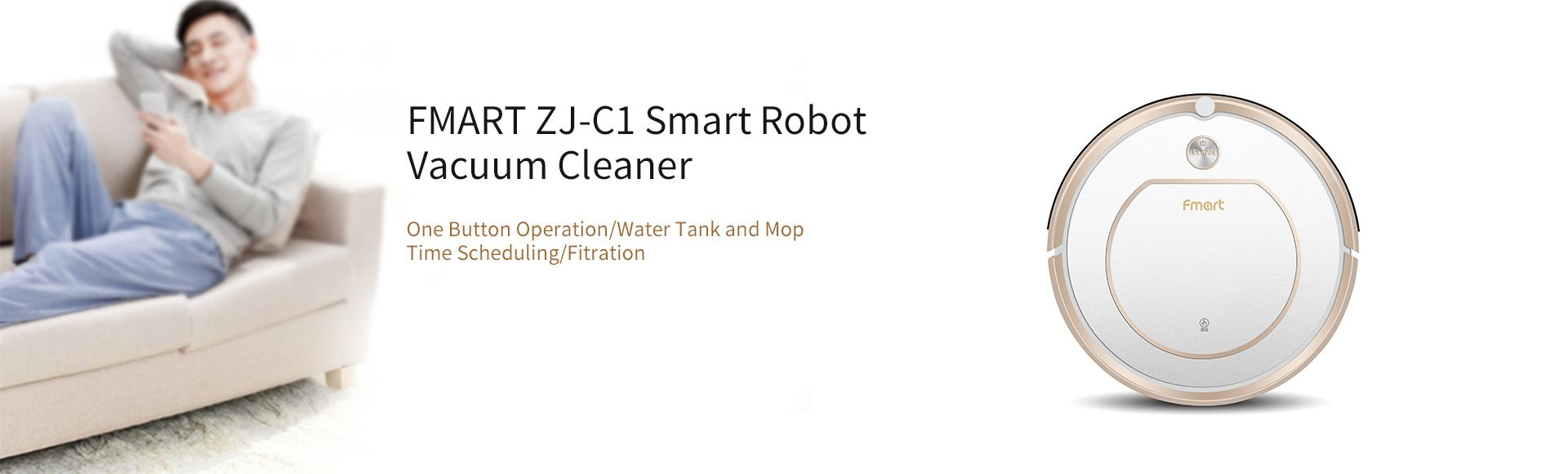FMART ZJ-C1 Smart Robot Vacuum Cleaner   - One Button Operation Filtration Water Tank and Mop Time Scheduling