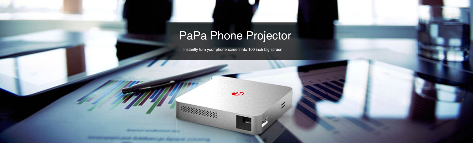 PaPa Phone Projector - Visible 1500 LM 854 x 480 Pixels 5GHz WiFi HDMI Home Theater Mini Cell Phone Projector