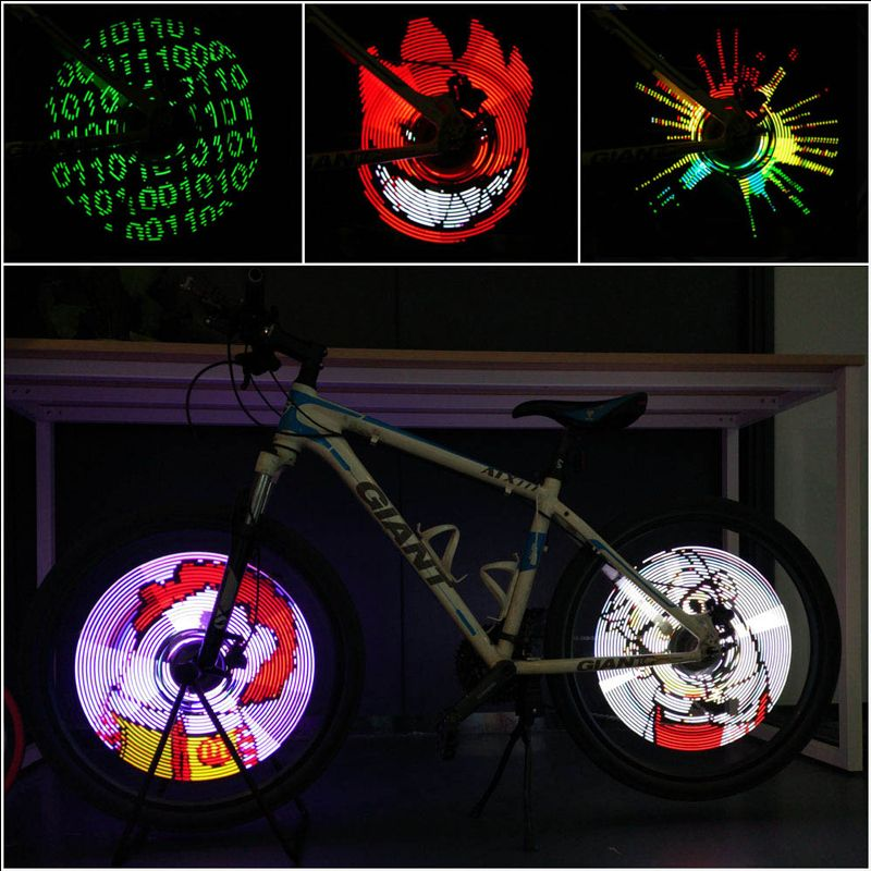 [Upgraded] XuanWheel Cycplus Bike Wheel Lights  - LED Bicycle Spoke Light, USB Rechargeable Bike Light, Programmable Pics Rainproof Rim Accessory, with DIY XuanWheel APP for Night Riding