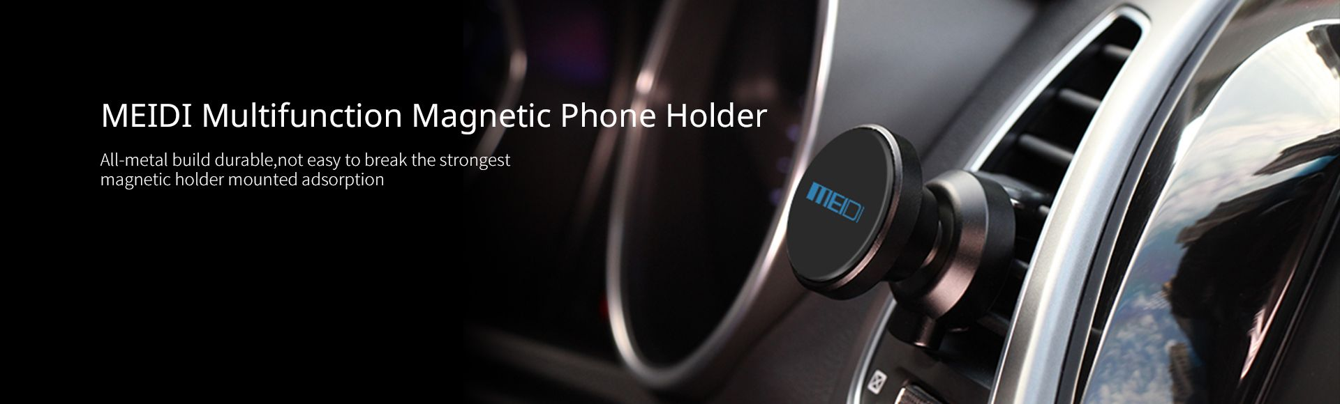 MEIDI Magnetic Car Phone Mount - 360 degree rotation,Magnetic phone holder for car,Compatible with most mobile phones