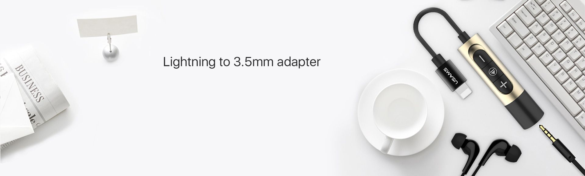 Lightning to 3.5mm Adapter Cable Support Volume Control and Charging