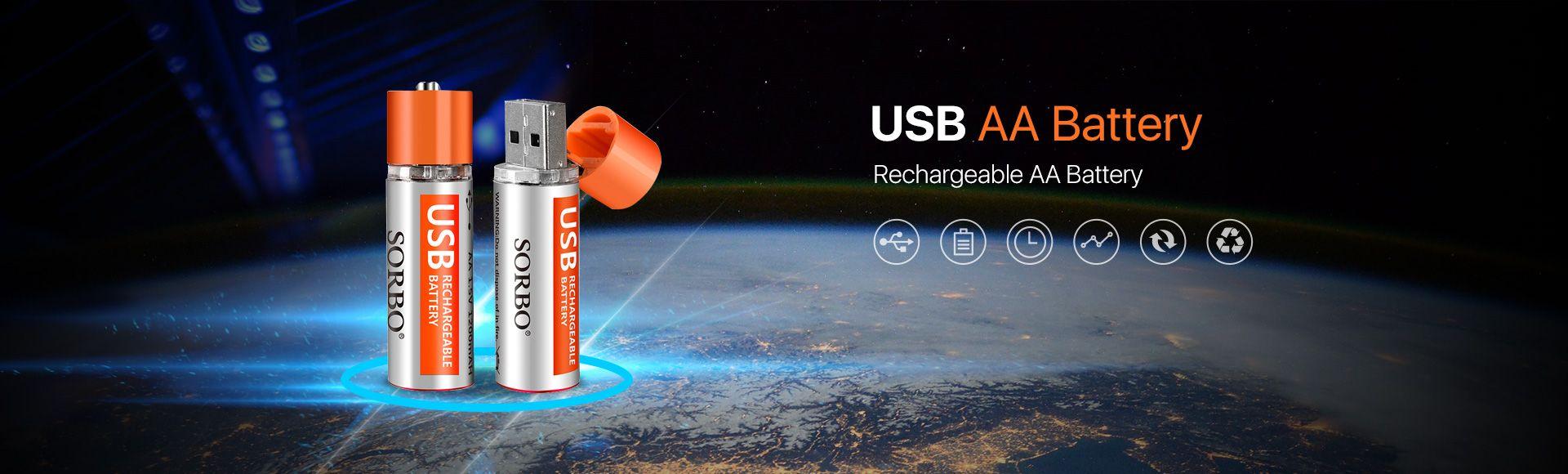 SORBO USB Rechargeable Lipo AA Battery  - 1.5V 1200mAh lipo rechargeable battery