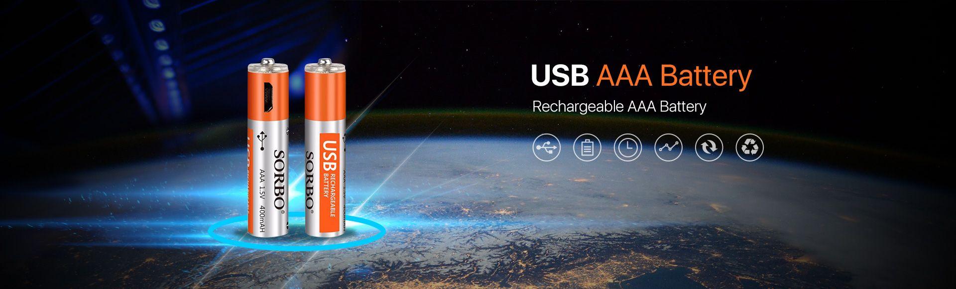SORBO USB Rechargeable Lipo AAA Battery  - 1.5V 400mAh Micro USB Rechargeable 1 hour quick charging