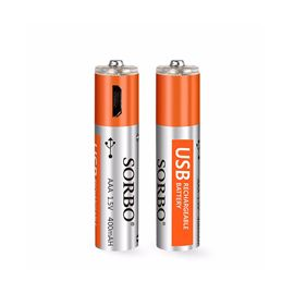 SORBO USB Rechargeable AAA Batteries Lipo 1.5V 400mAh Micro USB Rechargeable 1 hour quick charging