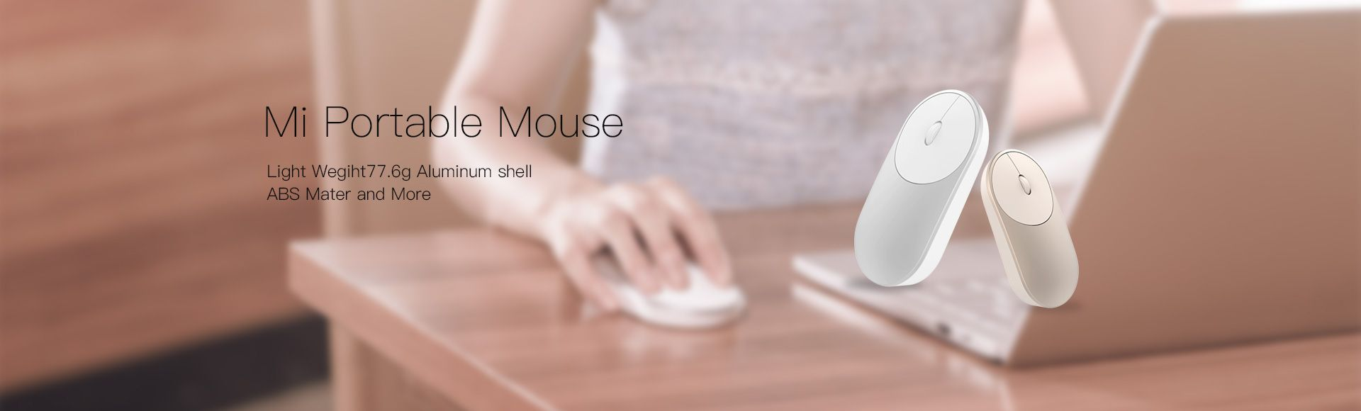 Xiaomi Mi Portable Mouse  - with Dual mode connecting using Bluetooth 2.4G Wireless adapter A switch between two computers 77.5g (Include Free Bluetooth/Wlan Adapter)