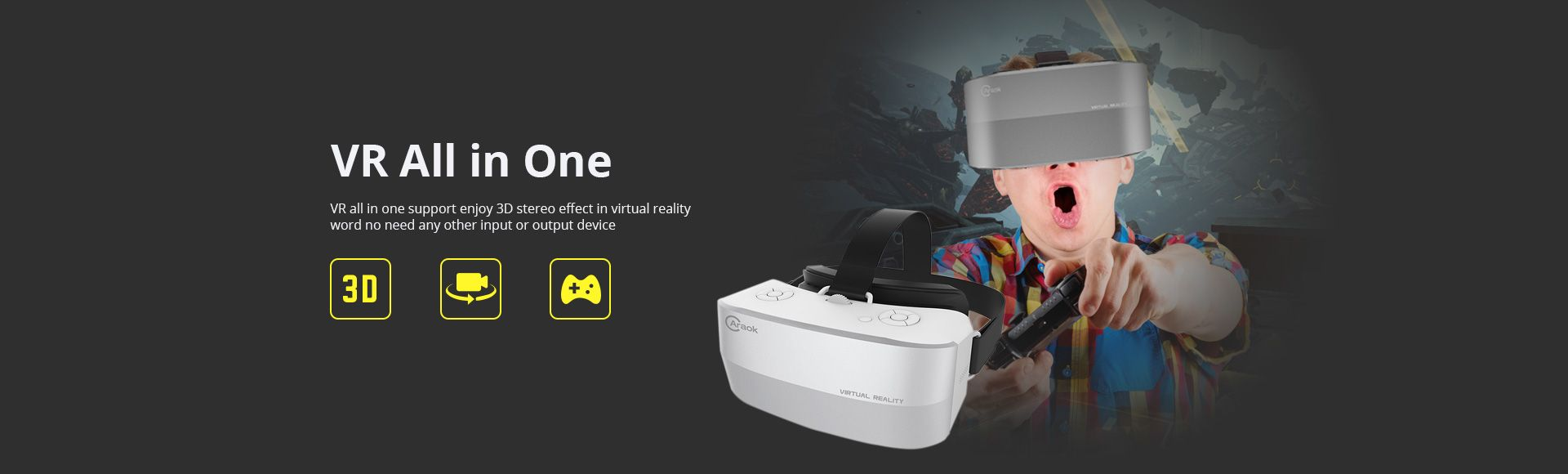 Caraok V12 Android 4.4 All-in-One 3D VR Glasses  -  Allwinner H8 Quad Core 2G 16G Support Wifi Bluetooth OTG TF Card