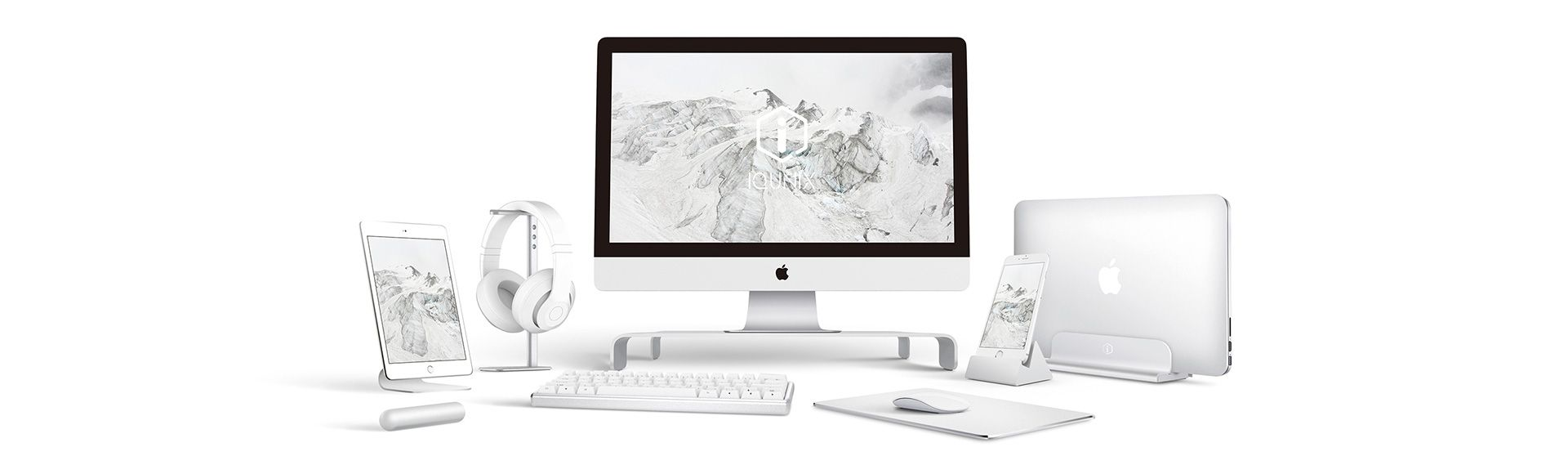 iQunix Edin Adjustable Laptop Stand - Vertical Desktop Aluminium Adjustable Stand For Macbook Pro/ Air / Microsoft Surface / Dell XPS / HP