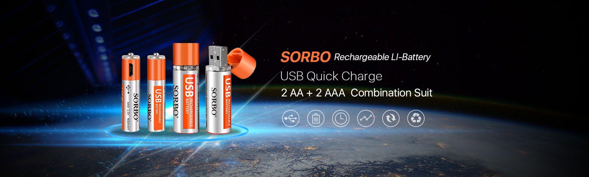SORBO USB Rechargeable Lipo Battery AA & AAA Suit - 2Pcs AA & 2Pcs AAA 1.5V Rechargeable USB Battery 1 Hours Quick Charge
