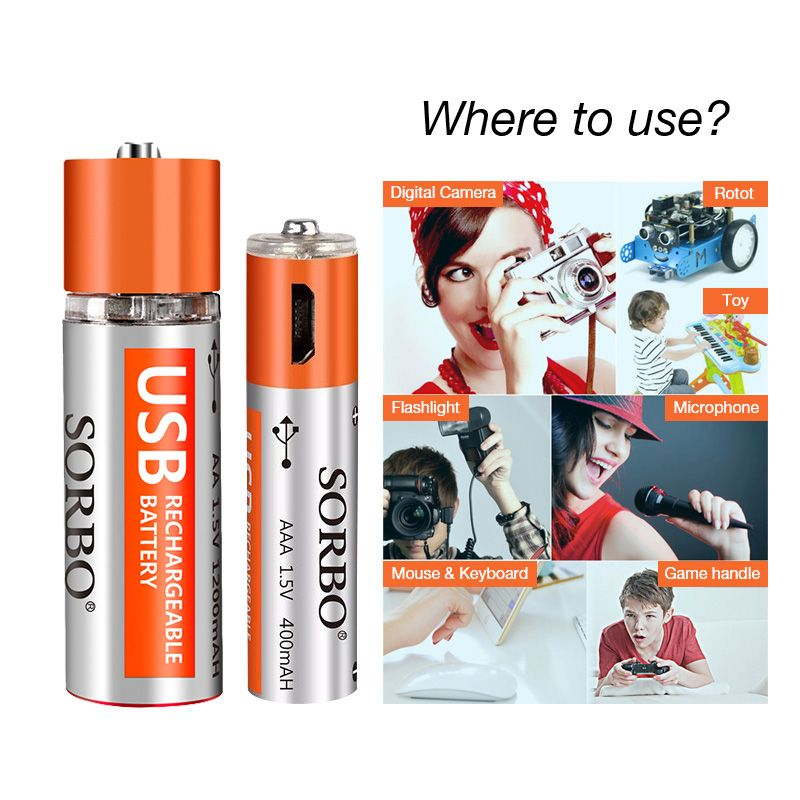 SORBO USB Rechargeable Lipo Battery AA & AAA Suit
