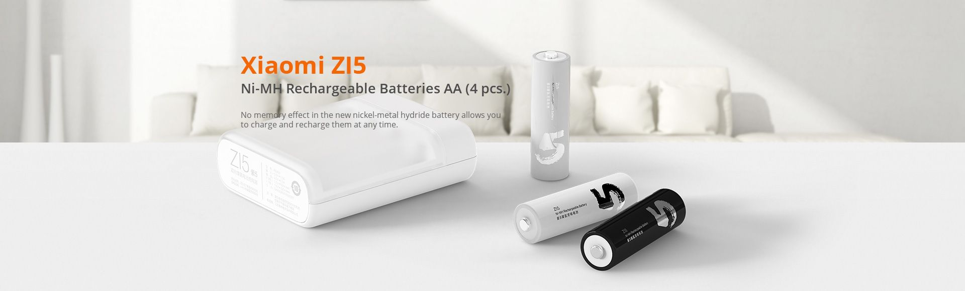 Xiaomi ZI5 NiMH Rechargeable Battery Charger - 1800mAh min. / 1900mAh typ. Fast Portable Bidirectional Rechargeable AA AAA Battery Charger with USB Port Environmentally For Camera Toys Outdoor EPS