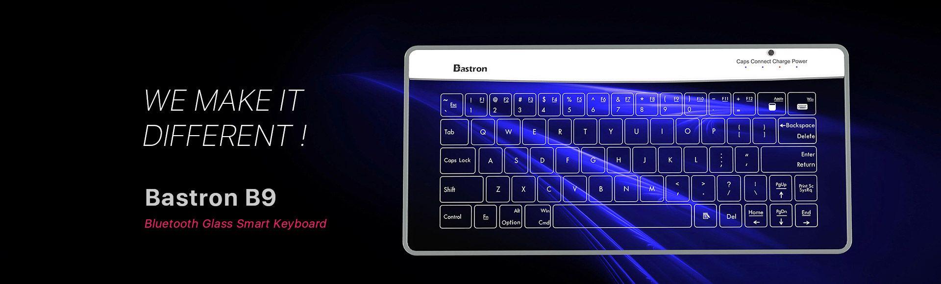 Bastron B9 Wireless Bluetooth Transparent Glass Keyboard - Ultra-thin,Splash-resistant glass,Wireless bluetooth touch keyboard with Blue LED backlit