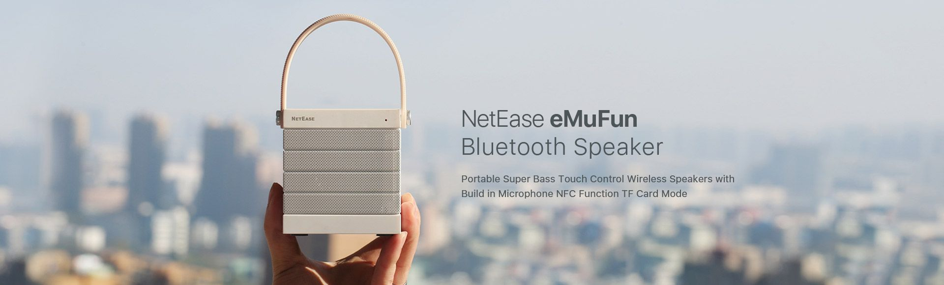 NetEase eMuFun Bluetooth Speaker - Portable Super Bass Touch Control Wireless Speakers with Build in Microphone NFC Function TF Card Mode