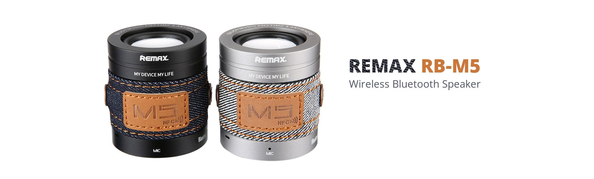 Remax M5 Bluetooth Speaker  - Wireless Portable Speaker NFC Function HiFi Stereo Hands Free MIC Calls for Mobile Phone