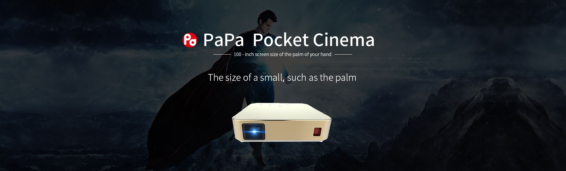 PaPa Pa01 Pocket Cinema - Pocket Cinema Portable Home Video Phone Projector Mini Cell Phone Projector Support 1080P WiFi 100 inch Screen TF USB Android 4.4 for Smart Phone