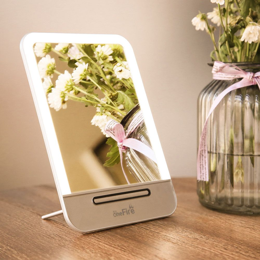 OneFire Portable Table Top Vanity Mirror - USB rechargeable,Vanity table top led lighted cosmetic mirror