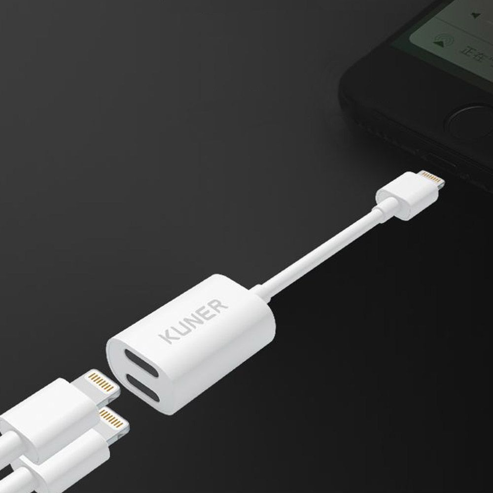 KUNER KUCABLE Kucable 2 In 1 Lightning Adapter For iPhone 7 / 8
