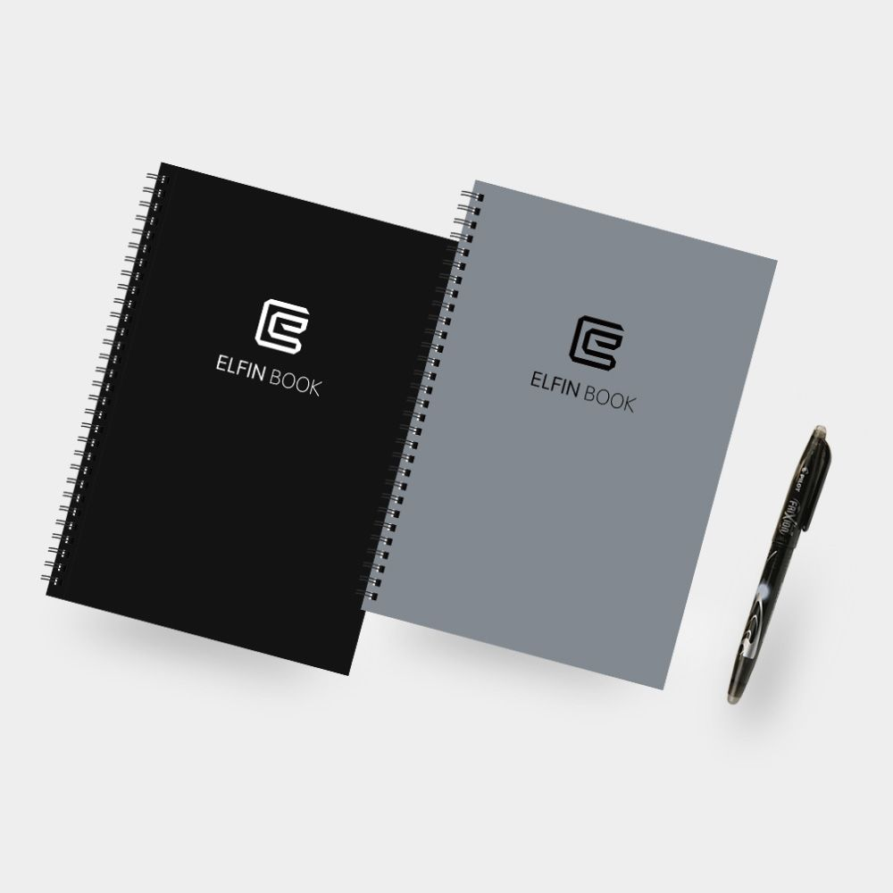 Elfin Book Smart Reusable Notebook - Environmental stone paper, Cloud storage notebook, Organize files by App, Comes with a Pilot pen