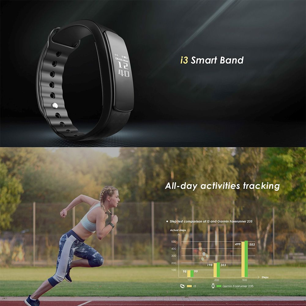 LEMFO i3 Bluetooth Smart Wristband - Sport fitness tracker, Auto-sleep monitoring, Plug and charge
