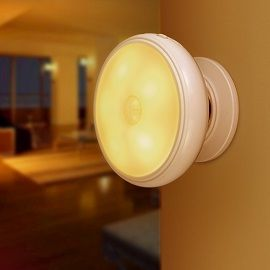 GEECR Indoor Motion Sensor Light 360° rotating led night light,Detachable magnet base,Wireless USB charge,Security lights (Warm Yellow)