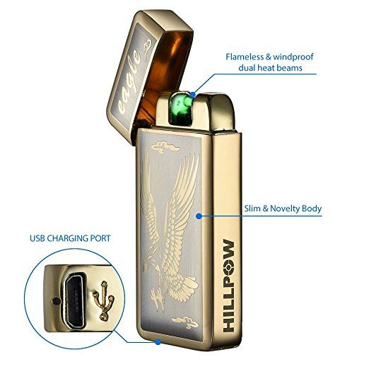 HILLPOW Electric Lighter - Rechargeable, Flameless & Windproof - Dual Arc Rechargeable USB Lighter Light Activated