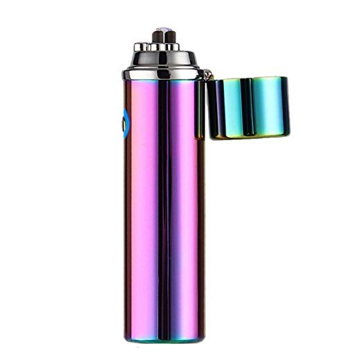 DISIANI Dual Arc Electronic Lighter - FASTER - STRONGER - SAFER - Rechargeable lighter Windproof. Cigarette Lighter, USB Cable, Gift Box (Rainbow)