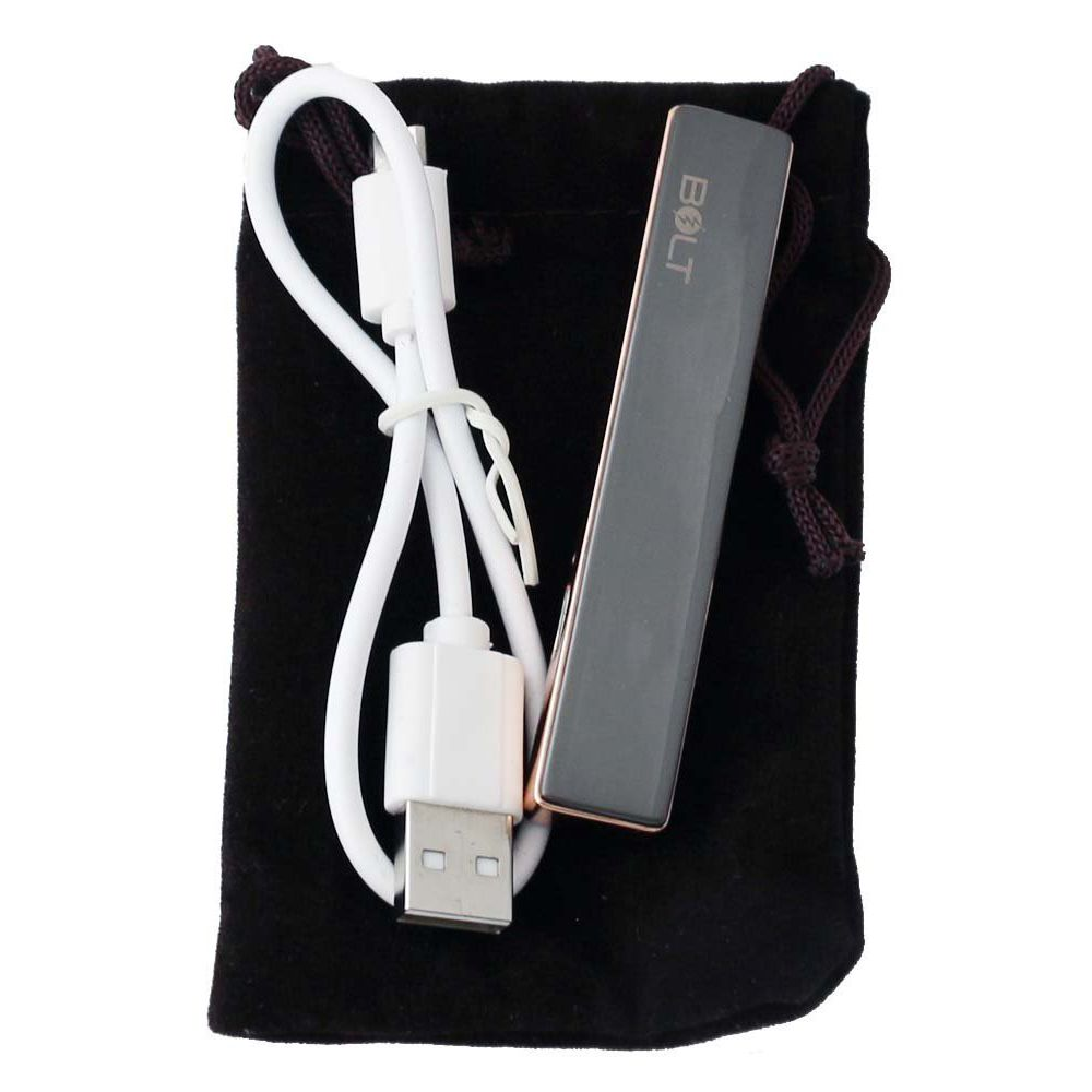 BOLT Lighter USB Rechargeable - Windproof Coil Slim Lighter Set with USB Charging Cable and Carrying Pouch