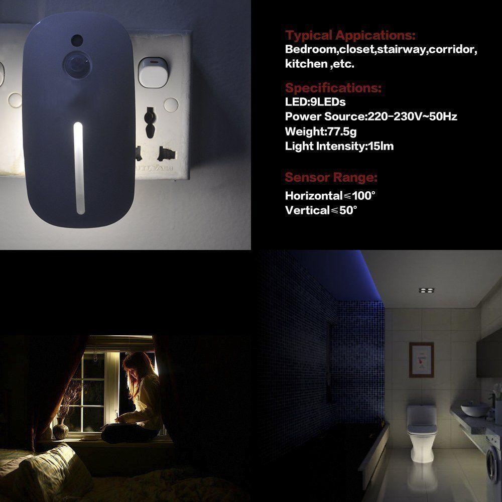 Sensky Skl001 Plug in Motion Sensor Light - Motion Activated LED Sensor Night Light for Bedroom, Stairwells, Hallway