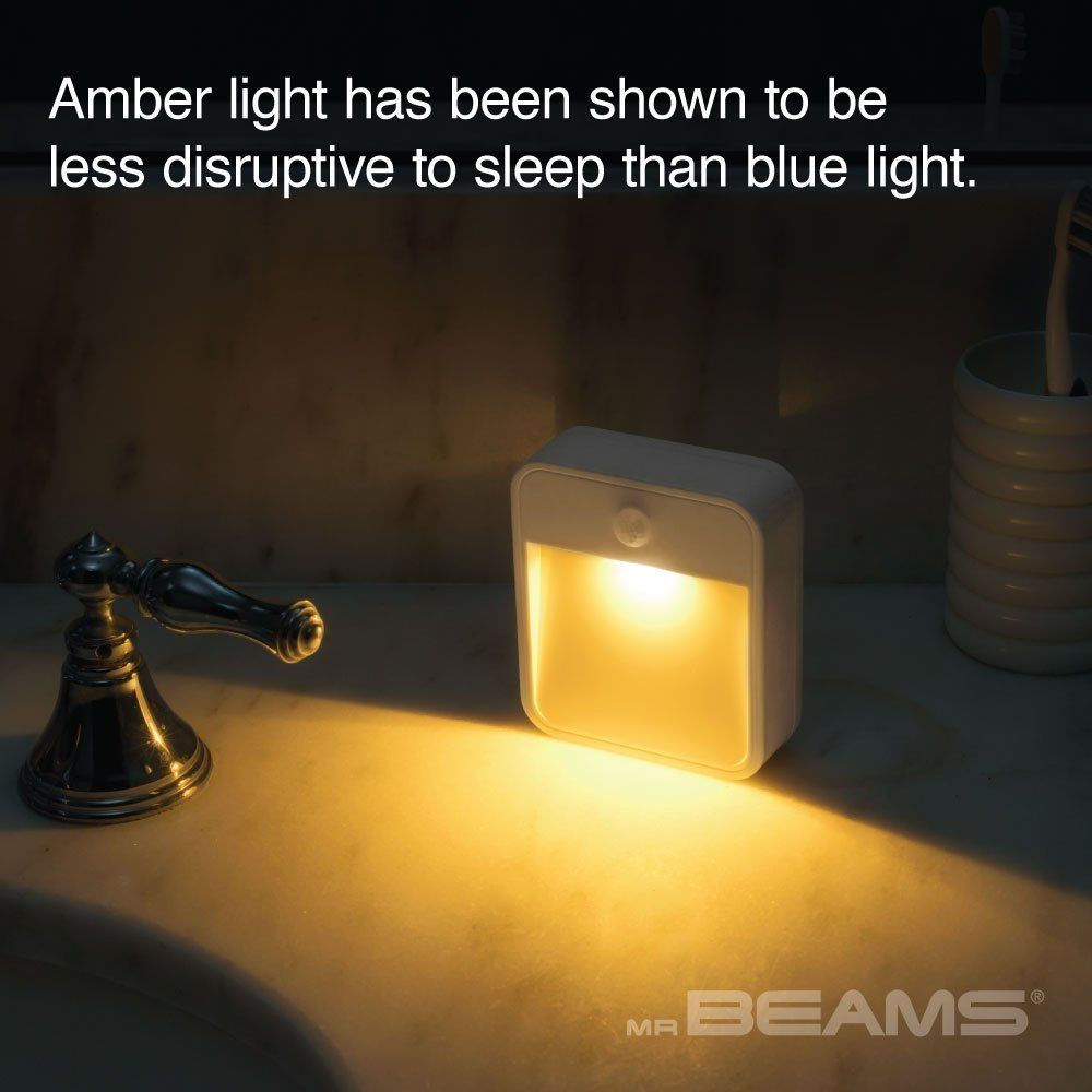 Mr. Beams MB720A Motion-Sensing LED Stick-Anywhere Nightlight - Sleep Friendly Battery-Powered Nightlight with Amber Color Light (1-Pack), White