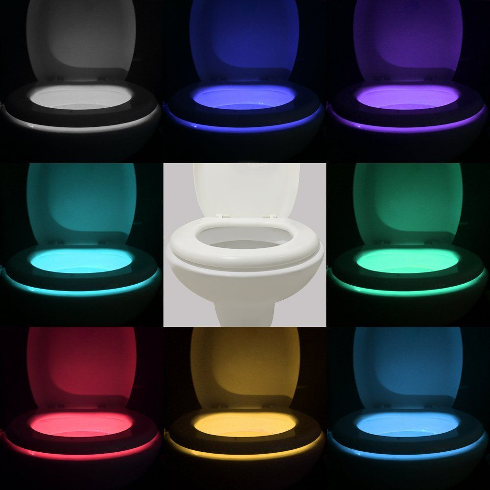 Motion Activated Toilet Night light - Vintar Body Auto Motion Activated Sensor Colorful Nightlight, 16-Color Changes, Only Activates in Darkness