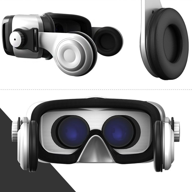 Leji VR Box 3.0 Virtual Reality Glasses 3D with Built-in Earphone - All-in-one virtual reality gaming headset for 4.5- 5.5 inchs smartphones