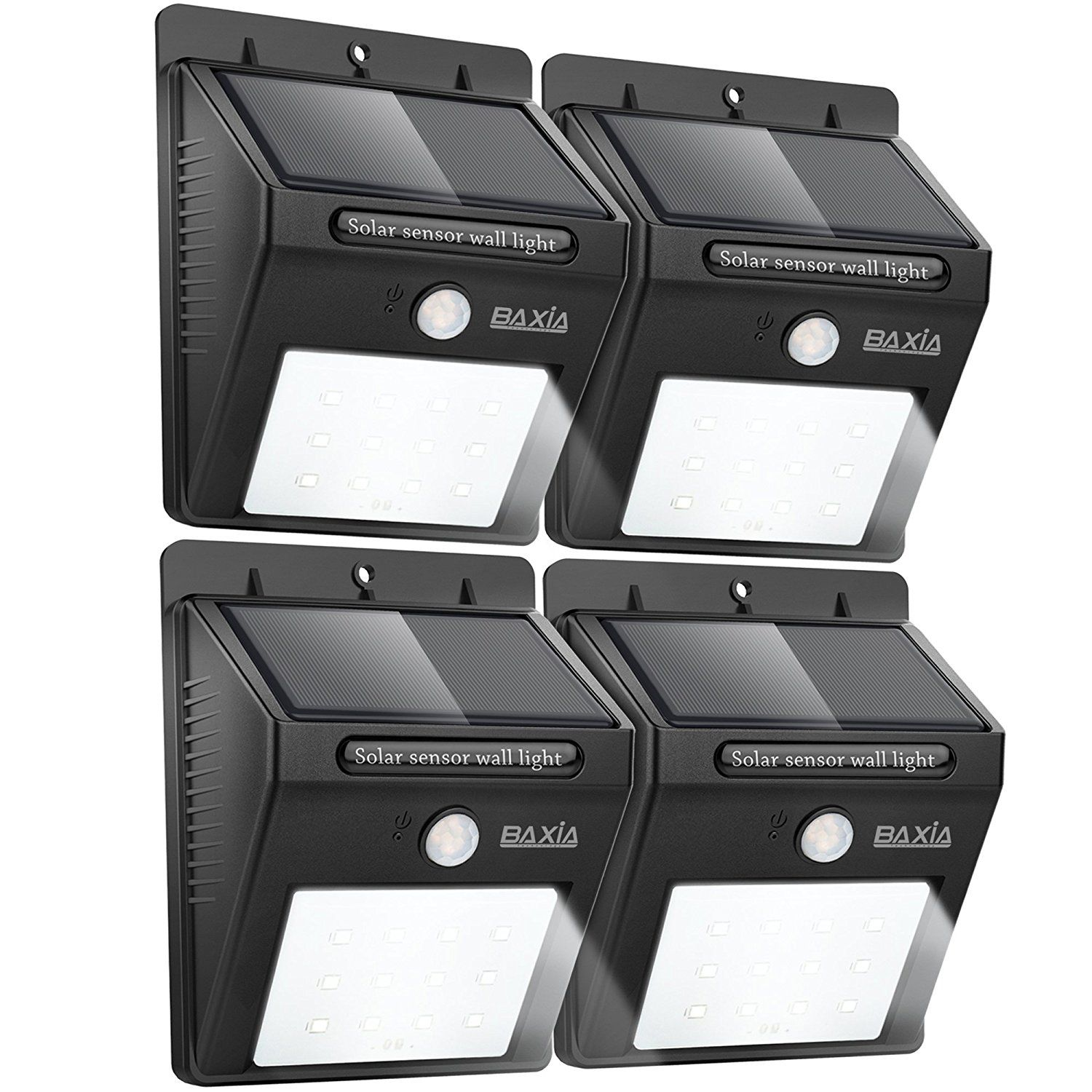 BAXIA TECHNOLOGY Waterproof Solar Motion Sensor Nightlight  - Outdoor Solar Bright Security Lights 12 LEDs Wireless for Wall (4-pack)