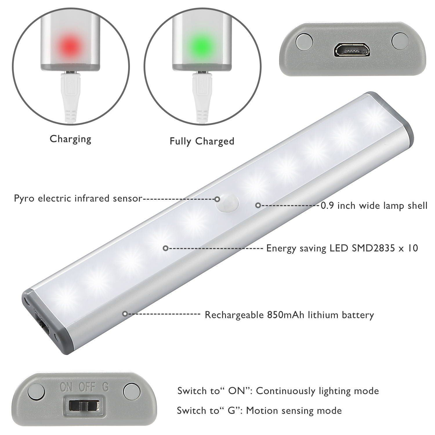 Moston Upgraded USB Rechargeable Magnetic Motion Sensor Night Light