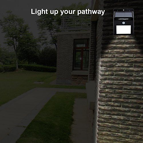 URPOWER Solar Lights Waterproof Motion Sensor Outdoor Light - 8 LED for Patio, Deck, Yard, Garden with Motion Activated Auto On/Off (4-Pack)