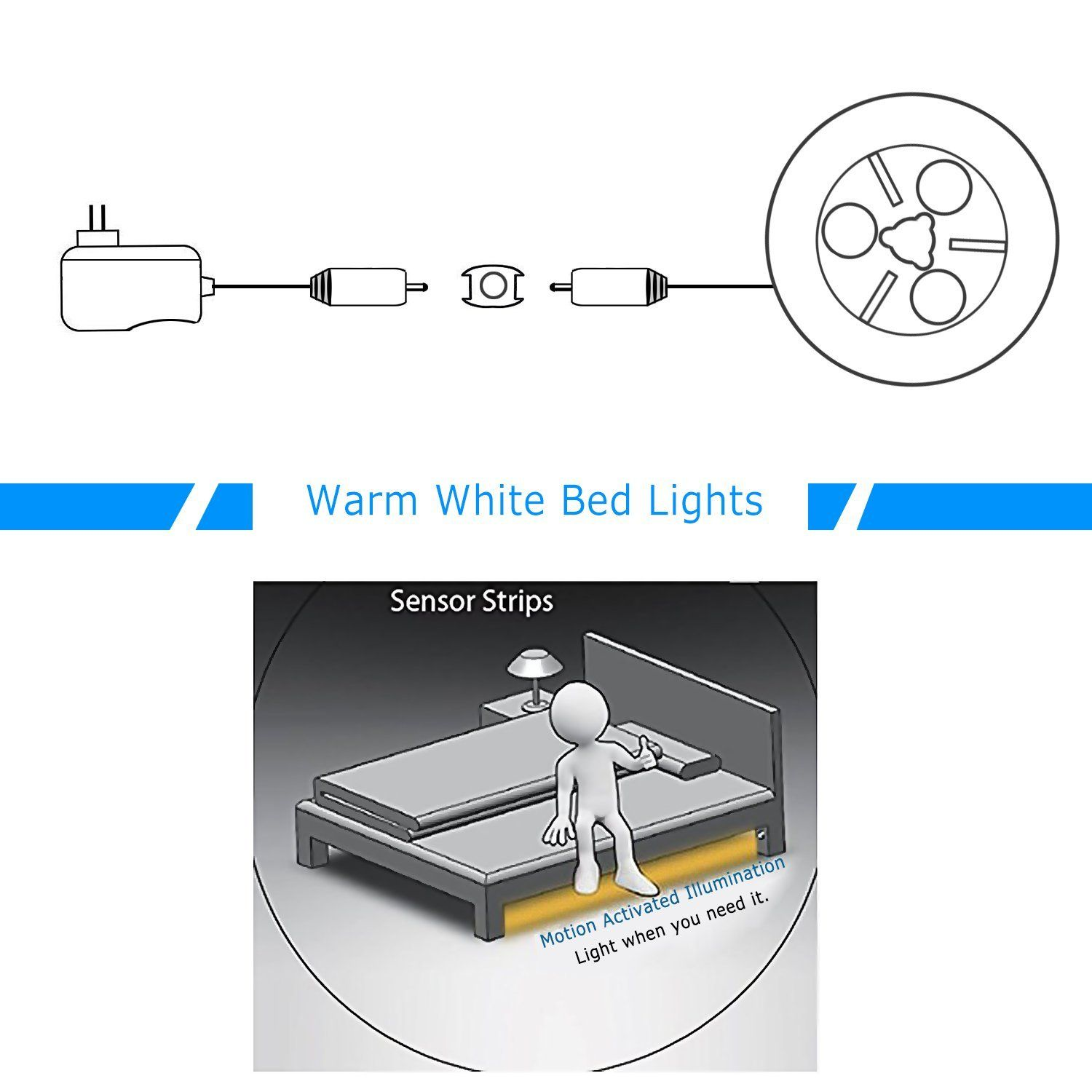 Vansky Flexible LED Strip Motion Sensor Night Light - Motion Activated Bed Light, Lamp Illumination with Automatic Shut Off Timer (Warm Soft Glow)