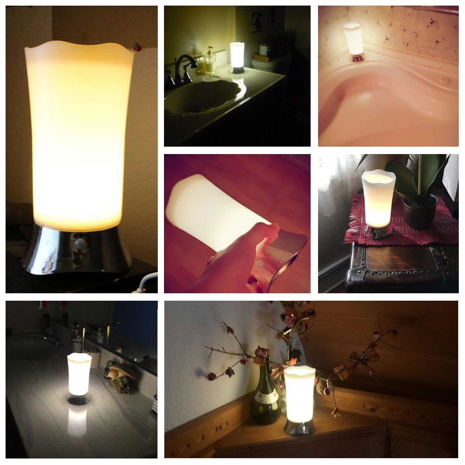 ZEEFO Table Lamps Indoor Motion Sensor LED Night Light - Portable Retro Battery Powered Light for Bedroom, Bathroom, Babyroom, Dining and Reading