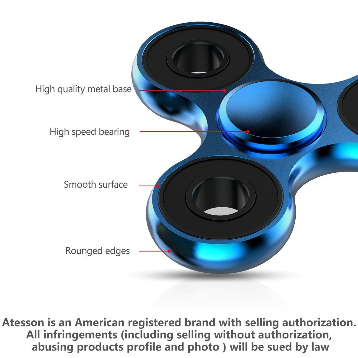 ATESSON Fidget Spinner Toy - Ultra Durable Stainless Steel Bearing High Speed 1-5 Min Spins Precision Metal Material Hand spinner EDC ADHD Focus Anxiety Stress Relief Boredom Killing Time Toys