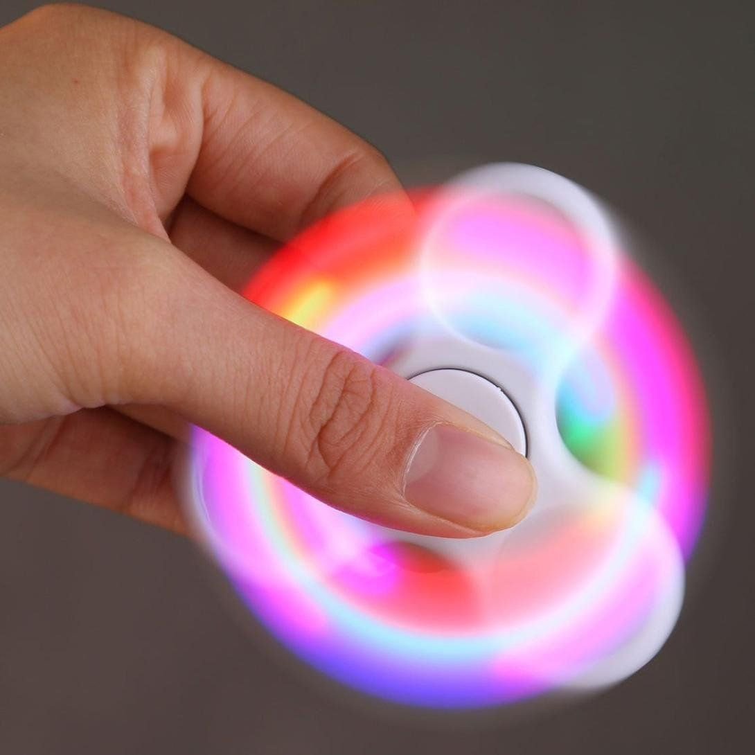 AMA(TM) LED Light Fidget Hands Spinner - Fingertip Bearing Toy EDC Focus ADHD Autism Decompression Gyro (White)