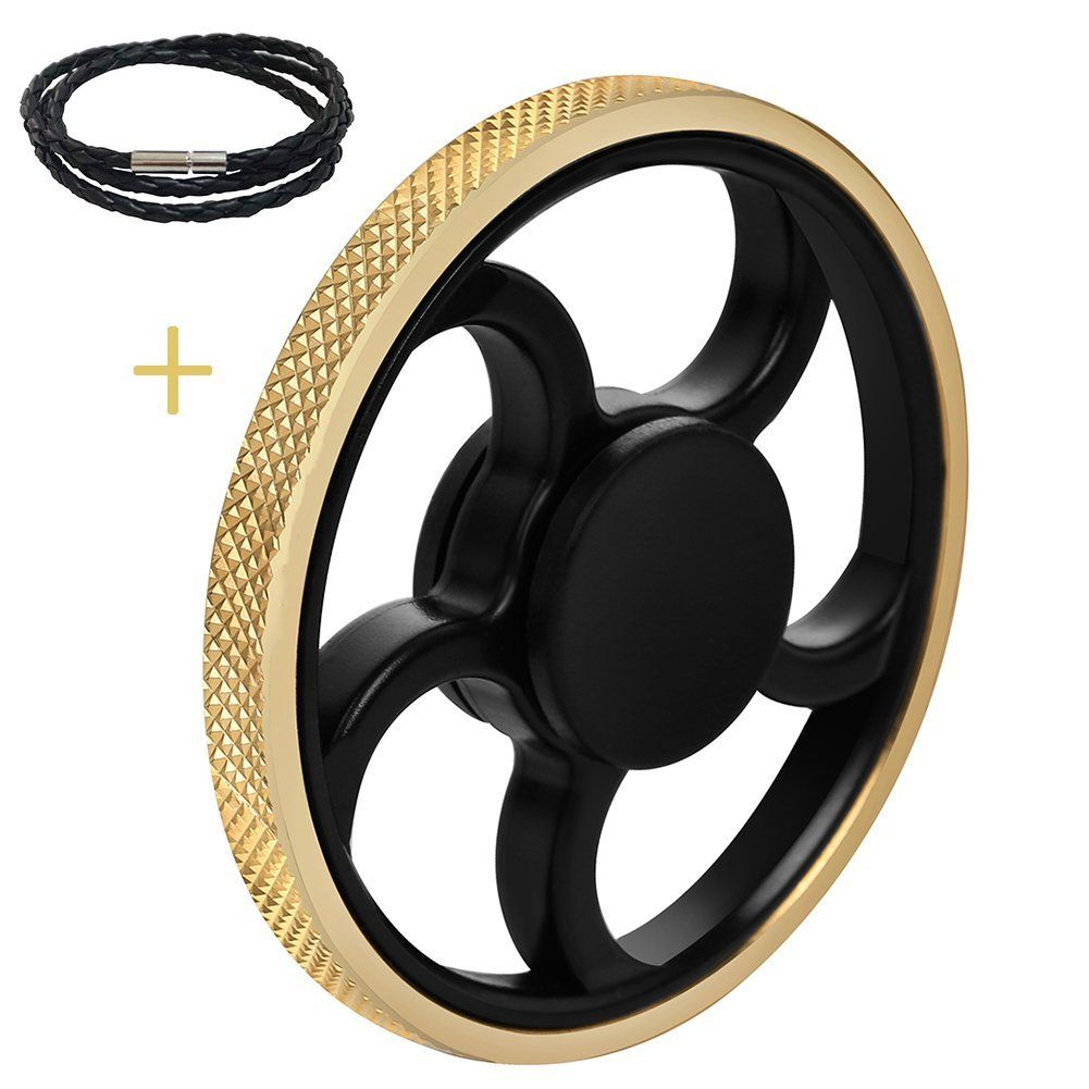 AMILIFE EDC Fidget Spinner Gold - High Speed Stainless Steel Bearing ADHD Focus Anxiety Relief Toys (&01 EDC Spinner, #Gold)