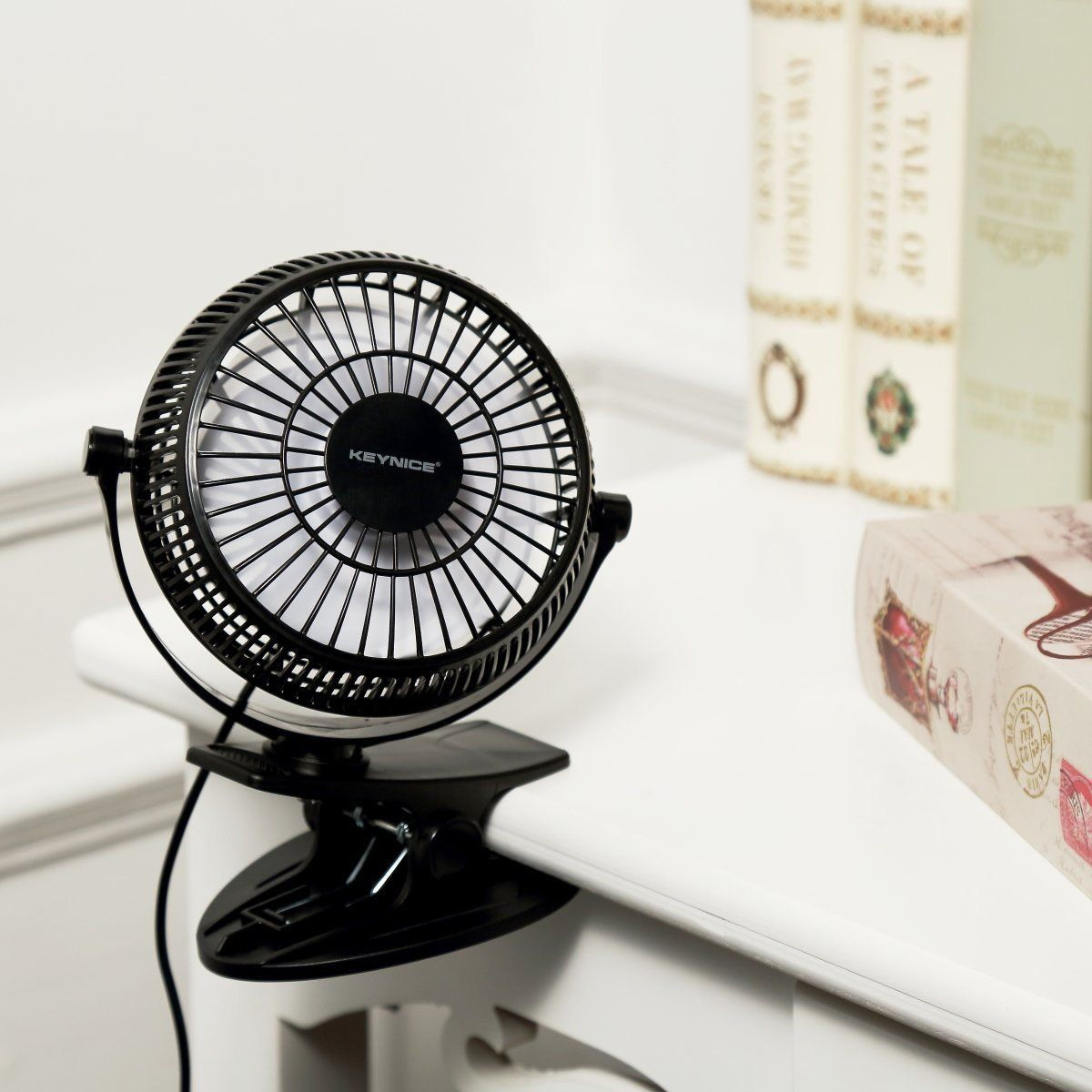 Keynice USB Clip Desk Personal Fan - 2 in 1 Applications, Strong Wind, 4 Inch 2 Speed Portable Cooling Fan USB Powered by NetBook, PC