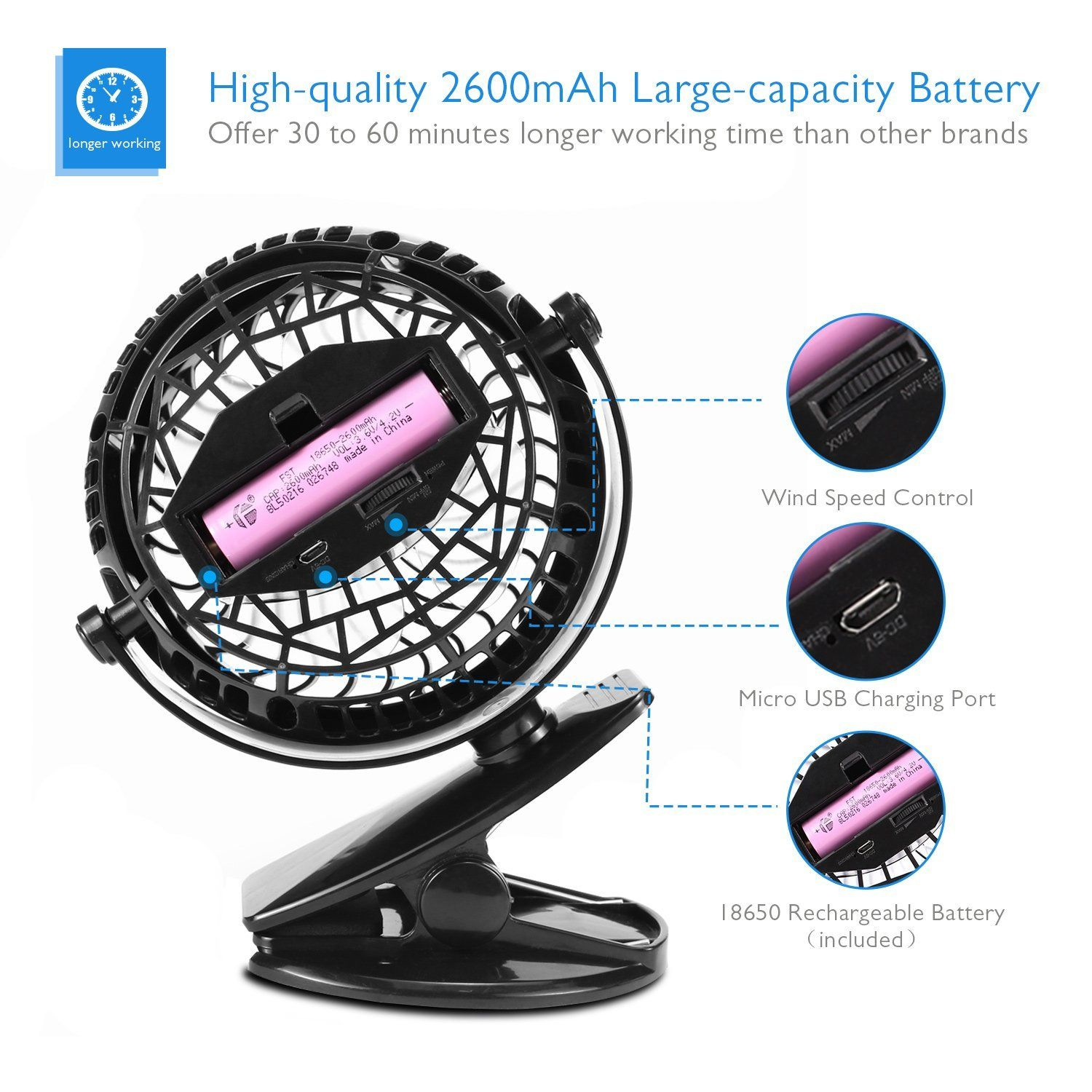 FLYING Mini USB Desk Rechargeable Fan with Upgraded 2600mAh - Enhanced Airflow,Lower Noise,Personal Cooling - Black