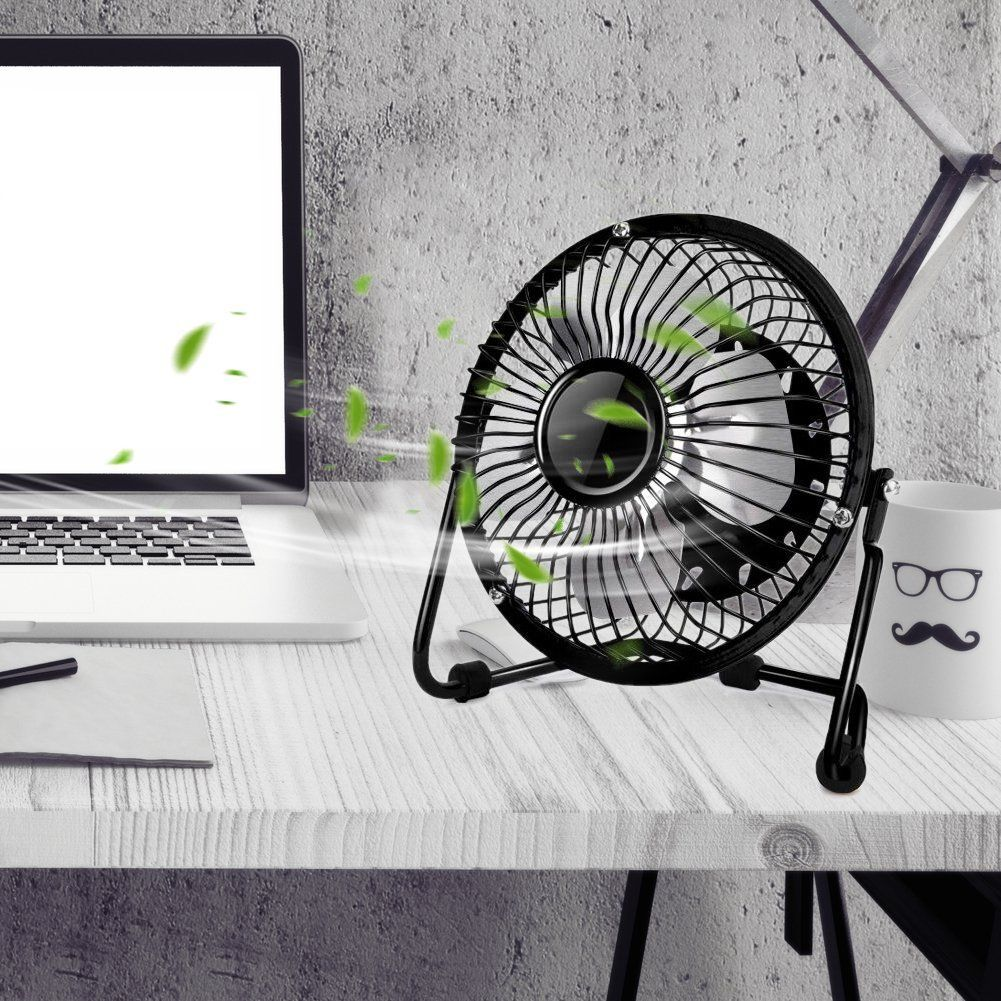 Binwo Quiet Mini Desk USB Fan - Portable Metal Cooling Fan for Office Home School and Camping,High Compatibility, Power Saving with 360 Degree Rotation,4 Inch ( Black )
