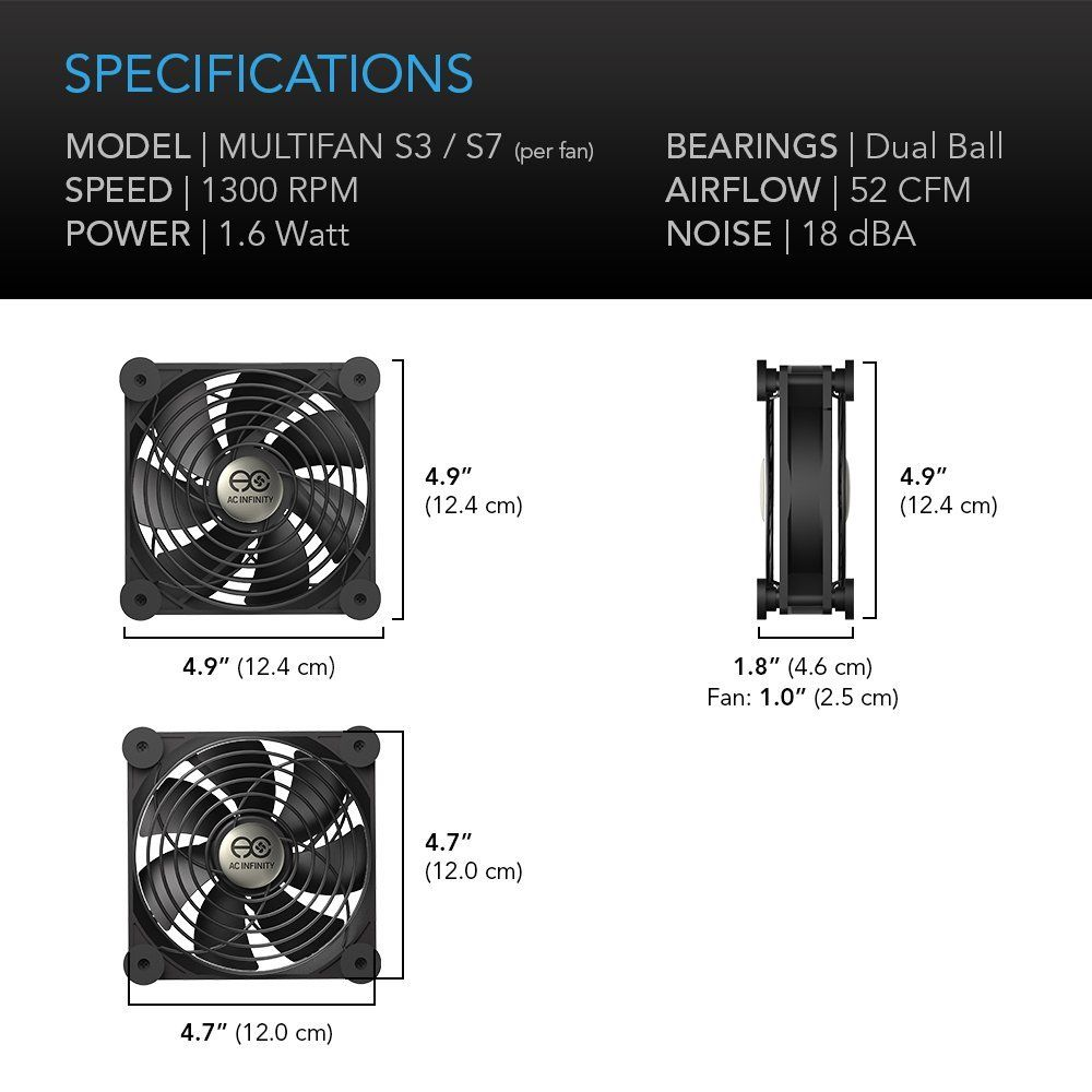AC Infinity MULTIFAN S3 Quiet 120mm USB Fan - for Receiver DVR Playstation Xbox Computer Cabinet Cooling