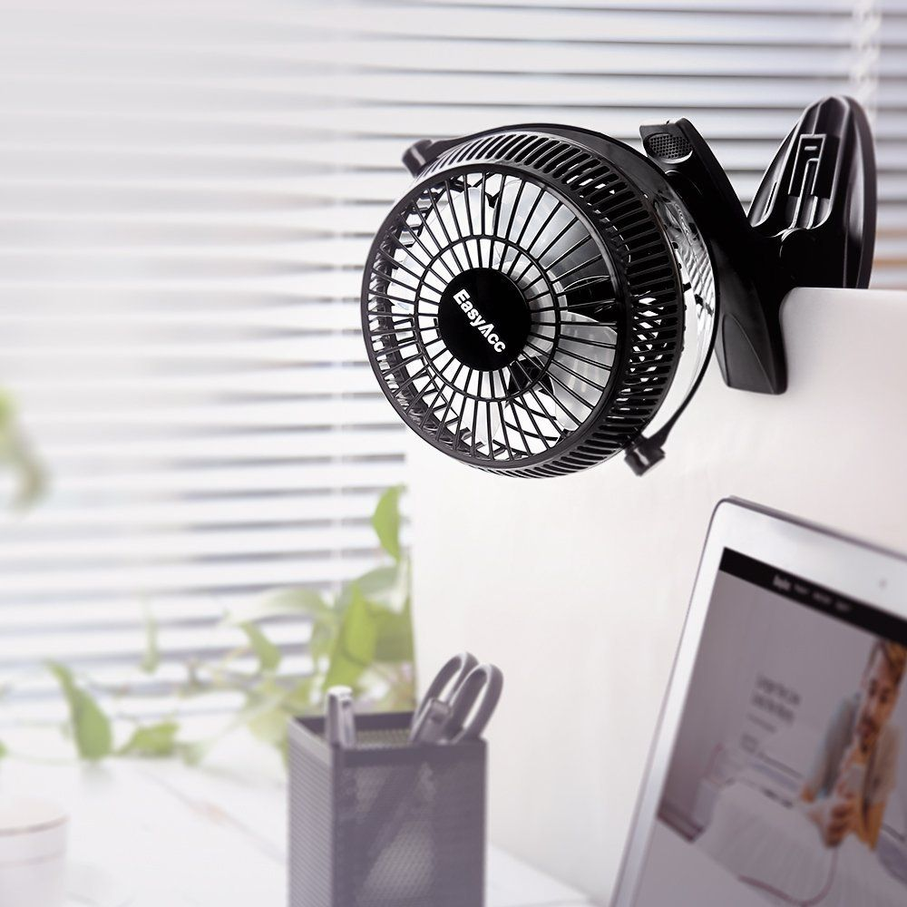 EasyAcc 720° Rotation Clip Desk Fan Black - Mini USB Personal Cooling Fan Portable Table Electronic Fan for Home Office Dormitory Bedroom