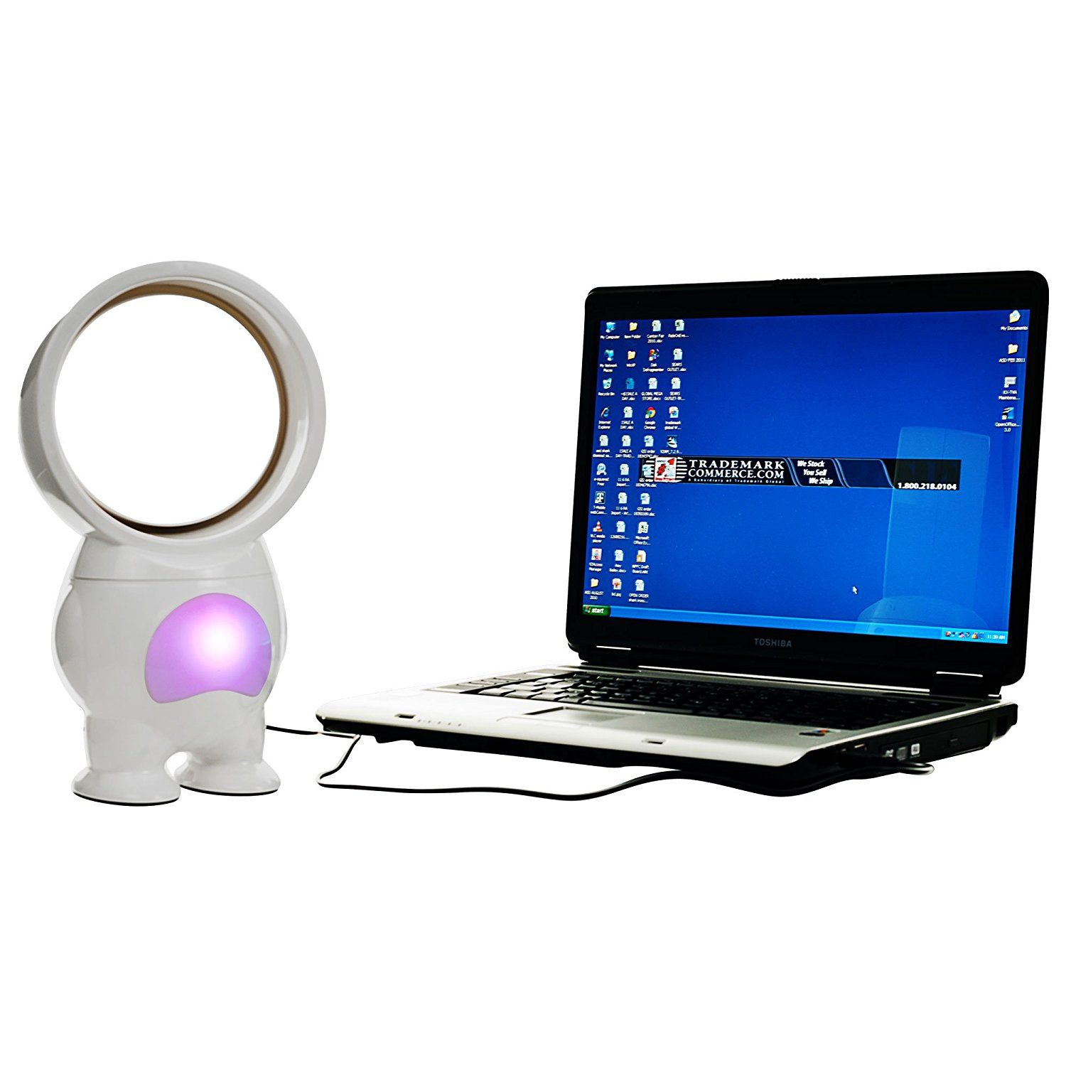 Trademark 72-HE519 TG USB Powered Robo Bladeless Fan - with Light,11-Inch